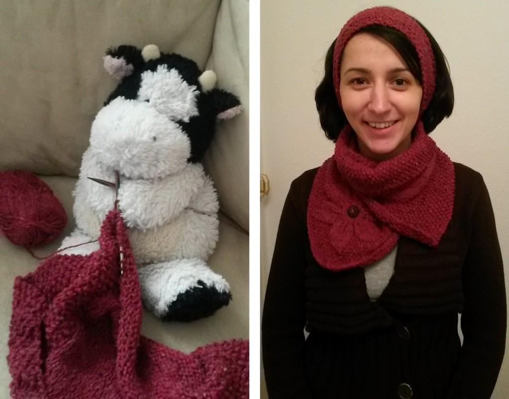 Tour de cou et bandeau tricotés