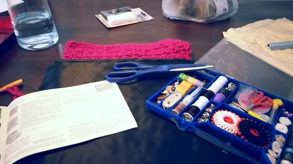 Pochette au crochet de rangement - couture en cours