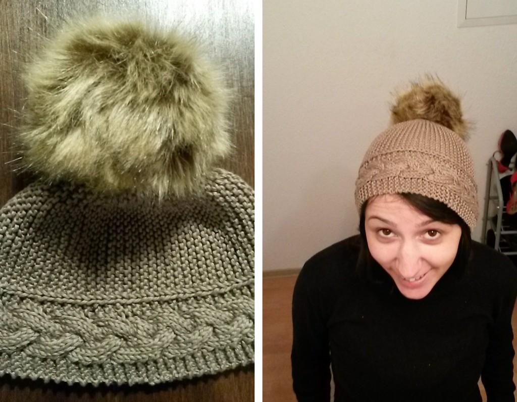 Bonnet avec gros pompon au tricot - vue générale
