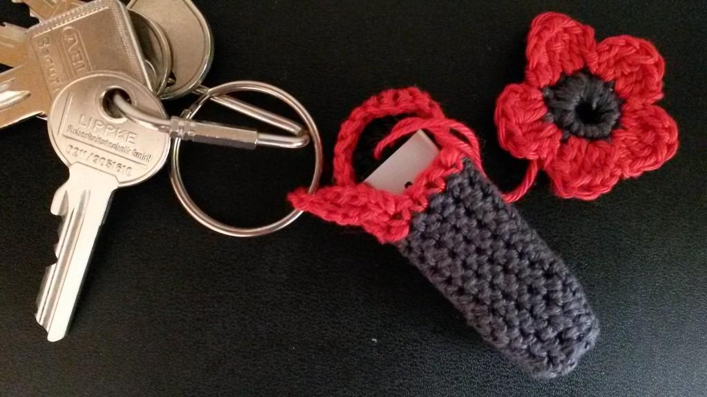 Porte-clés USB au crochet - mise en situation