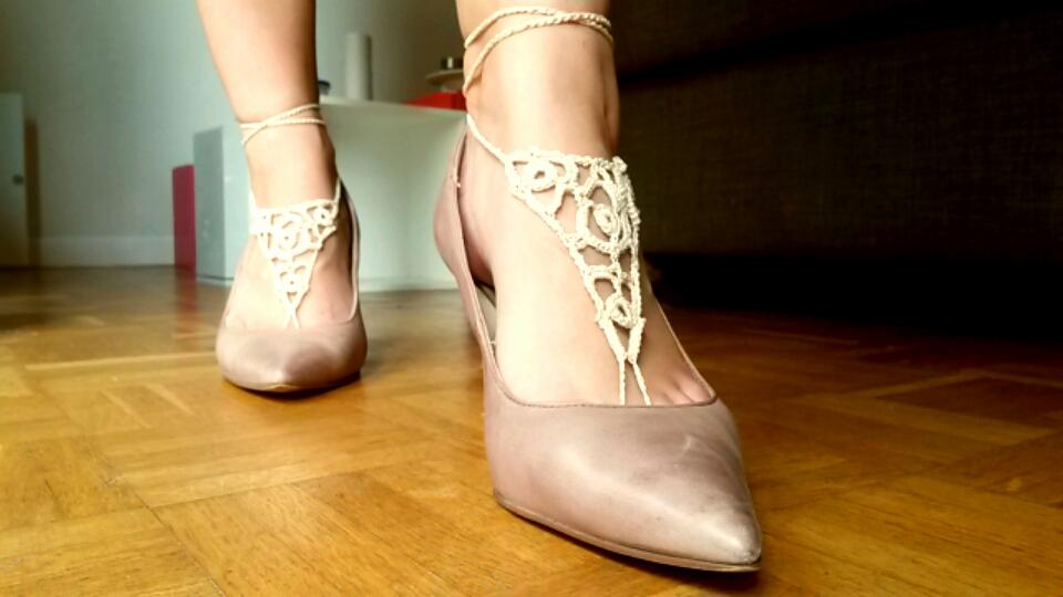 bijoux de pieds talons roses