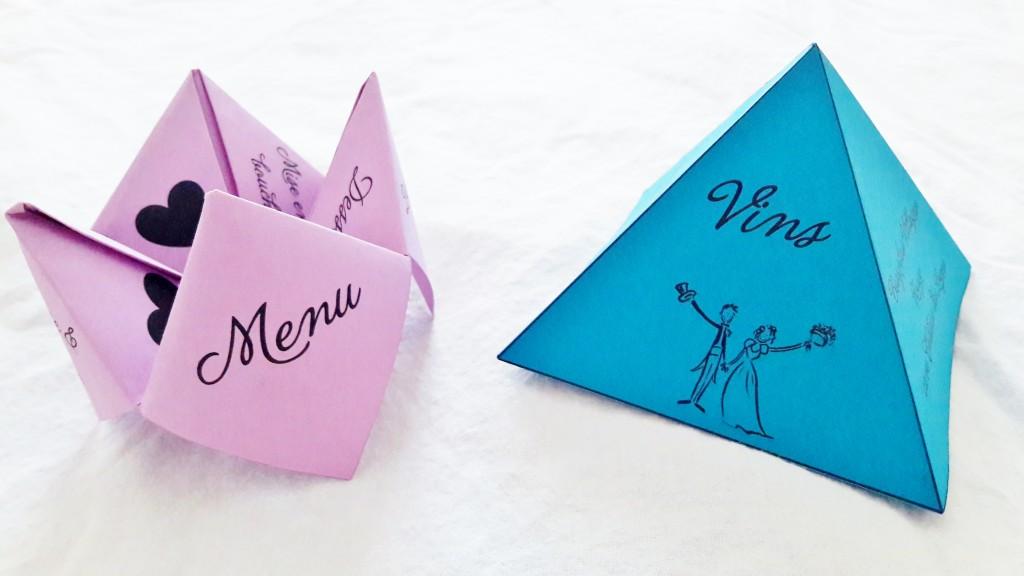 DIY menu origami