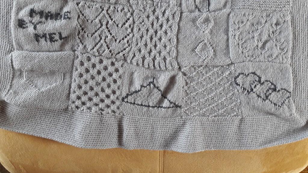 Tricot plaid patchwork - lignes 6 et 7